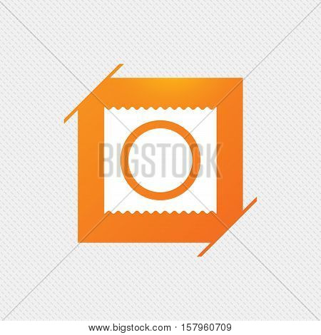 Condom in package safe sex sign icon. Safe love symbol. Orange square label on pattern. Vector