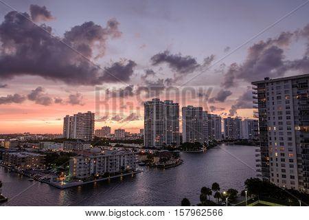 Sunset on high rise condos in Miami Beach Florida
