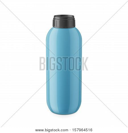 Round blue glossy plastic bottle with black cap for shampoo, balm, shower gel, lotion, body milk, bath foam. Realistic packaging mockup template. Eye-level view. Vector illustration.