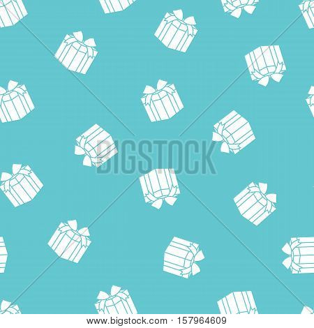 Stock vector seamless pattern with gift boxes on blue background
