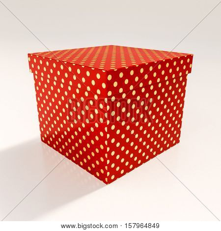 Red Cardboard Gift Box, Packaging for Shopping and Gift, Red Christmas Gift, Red Cube, Red Polka Dot Gift Box