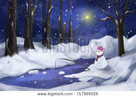 Snow Forest with Snow Man. Video Game's Digital CG Artwork, Concept Illustration, Realistic Cartoon Style Background