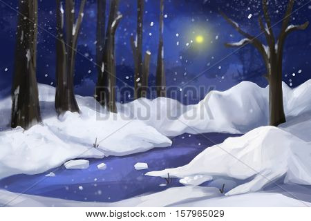 Fantastic Watercolor Style Painting: Snow Forest. Video Game's Digital CG Artwork, Concept Illustration, Realistic Cartoon Style Background