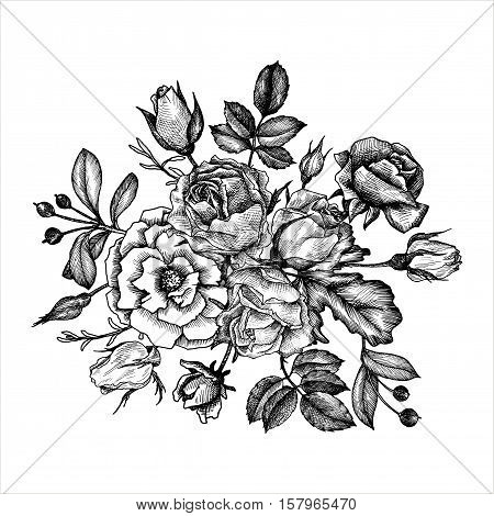vintage vector floral composition, isolated element in victorian style, flowers, buds and leaves, ink drawing, imitation of engraving, hand drawn composition