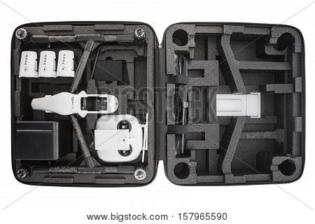 Varna Bulgaria - November 18 2016: Image of DJI Inspire 1 Pro drone UAV quadcopter which shoots 4k video and 16mp still images and is controlled by wireless remote with a range of 2km isolated on white