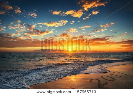 Sunrise over the beach and colorful cloudscapes. Punta Cana
