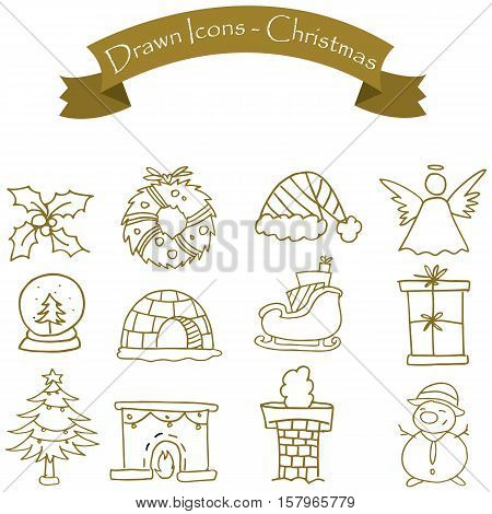 Style Christmas icons set vector collection stock