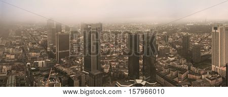 City Frankfurt skyline in fog. Toned Image