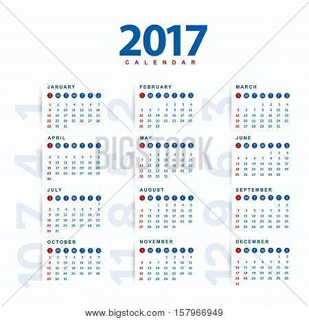2017 Calendar.Modern and simple calendar 2017 .