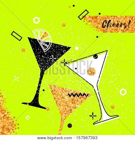 Martini clinking glasses with Gold Glitter elements on neon green background. Cheerful holiday. Alcoholic beverages. Concept party celebration. Vector Illustration.