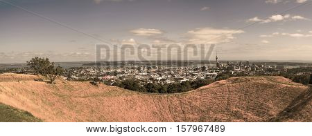 Auckland skyline from Mount Eden. Toned Image