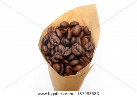 Espresso Coffee Beans On A Paper Cone