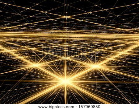 Abstract bright background - computer-generated image. Fractal geometry: bright stars and grid. Technology or space background for creative design projects.