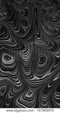 Abstract geometric background - computer-generated image. Fractal art: wrinkled and distorted concentric circles, repeated many times. Gnarl marble pattern. For desktop wallpaper, prints, covers.