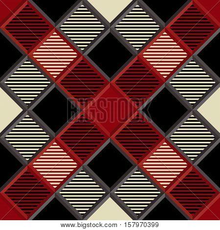 3D Lumberjack Tartan Seamless Pattern in Red Black and Beige. Trendy volumetric illustration for wallpapers. Traditional Scottish ornament. Tartan plaid inspired background.