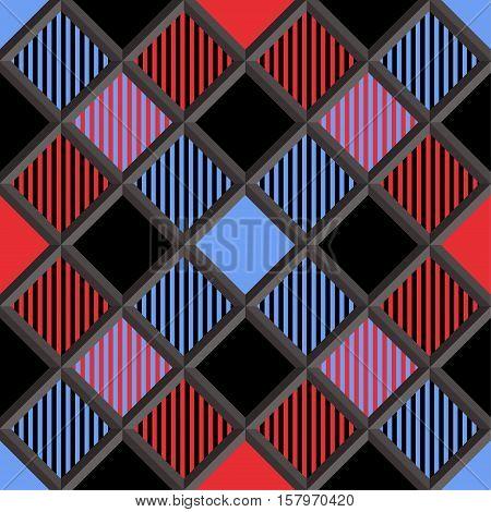 3D Lumberjack Tartan Seamless Pattern in Red Black Blue and Gray. Trendy volumetric illustration for wallpapers. Traditional Scottish ornament. Tartan plaid inspired background.