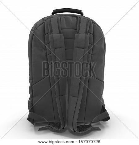 Black school backpack isolated on white background. Sport travel rucksack closeup. 3D illustration