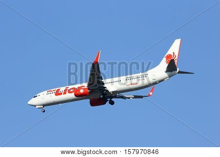 CHIANGMAI , THAILAND- FEBRUARY 19 2014: HS-LTH Boeing 737-900ER of Thai lionair airline , landing to Chiangmai airport from Bangkok Don Muang Airport, thailand.