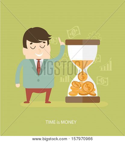 Time is money - business concept. Flat design icons for web and mobile phone services and apps. Vector illustration.