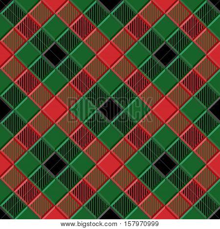 3D Lumberjack Tartan Seamless Pattern in Black Green Red and Gray. Trendy volumetric illustration for wallpapers. Traditional Scottish ornament. Tartan plaid inspired background.