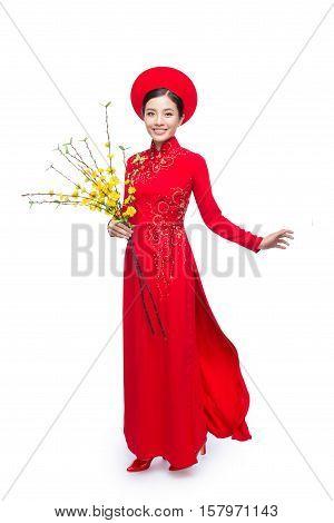 Portrait of a beautiful Asian woman on traditional festival costume Ao Dai holding Hoa Mai tree (Ochna Integerrima) flower. Tet holiday. Lunar New Year.