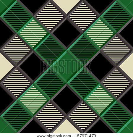 3D Lumberjack Tartan Seamless Pattern in Black Beige Green and Gray. Trendy volumetric illustration for wallpapers. Traditional Scottish ornament. Tartan plaid inspired background.