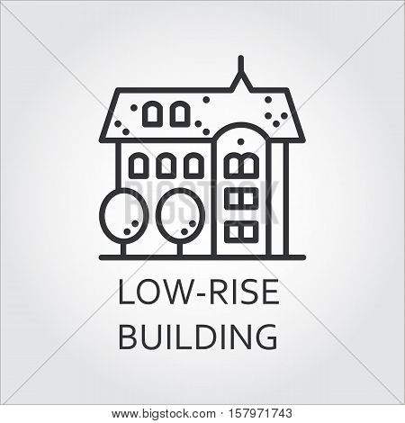 Low-rise building icon drawn in outline style. Concept of advertising purchase and rental of private housing. Image for websites, mobile apps and other design needs. Vector contour graphics