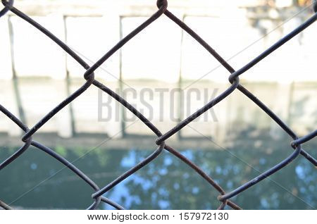 Chain Link Fence With Canal Background, Texture