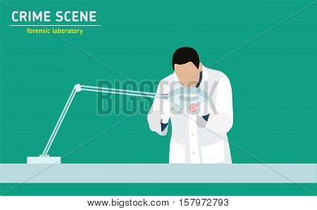 Forensic laboratory. The assistant forensic scientist examines evidence. Forensic procedure. Murder investigation.