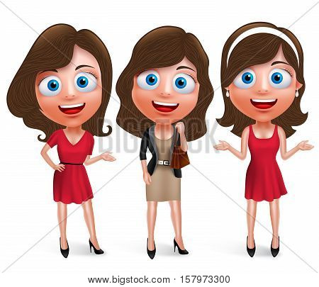Fashion teenage girls vector characters set with model pose and hairstyles wearing stylish and trendy formal attires and holding bag in white background. Vector illustration.
