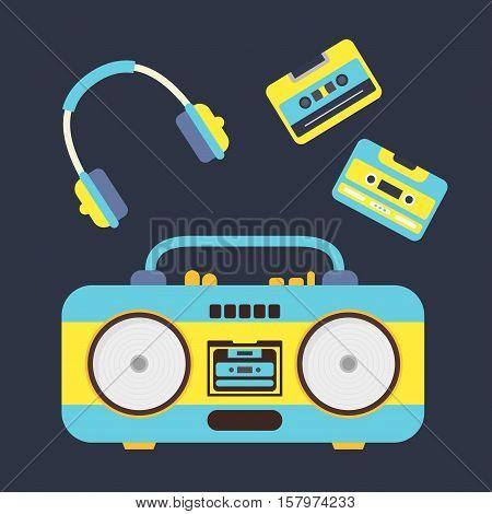 Cartoon Boombox, Cassettes and Headphones Set. Music Equipment Flat Design Style. Vector illustration