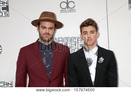 LOS ANGELES - NOV 20:  Alex Pall, Andrew Taggart, The Chainsmokers at the 2016 American Music Awards at Microsoft Theater on November 20, 2016 in Los Angeles, CA