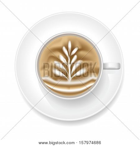 Realistic Coffee Art Foam with Shape Rosetta. Top View Vector illustration