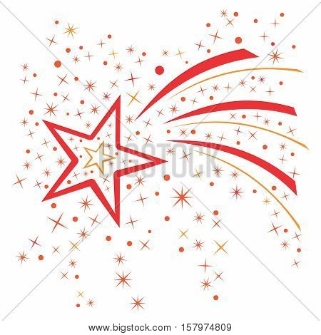 Vector sparkling falling star and stardust wave trail Illustration