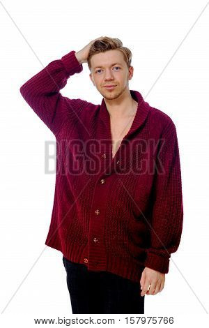 Young Man Dressed In A Maroon Sweater