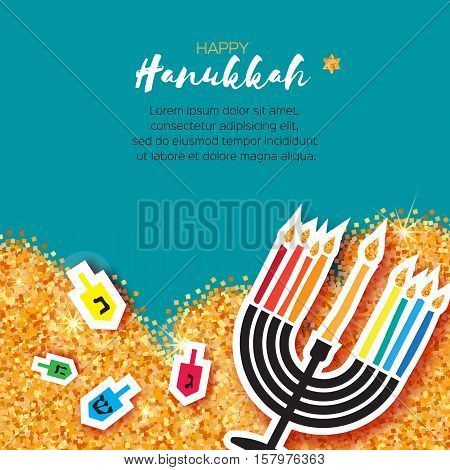Colorful Origami Happy Hanukkah Greeting card on blue background with space for text. Jewish holiday with menorah - traditional Candelabra, candles and dreidels - spinning top. Vector illustration