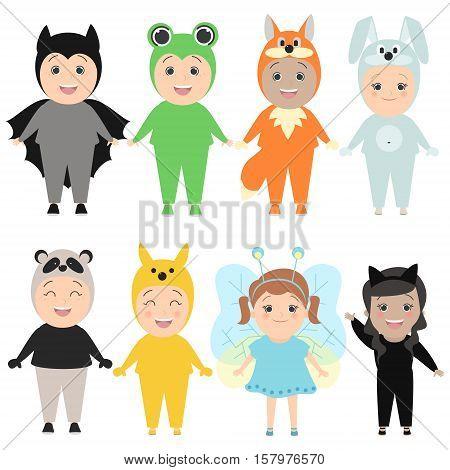 Children in costumes of animals. Carnival costumes hare fox butterflies cats pandas frogs. Vector cartoon set
