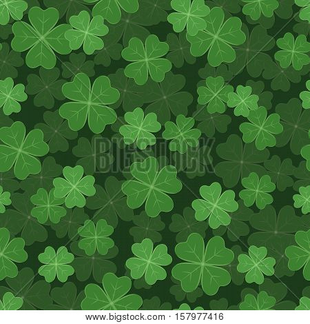 Seamless pattern illustration with clover with four leaves as a symbol of luck. Clover decoration as a symbol of irish cultural and religious celebration - Saint Patrick's day.
