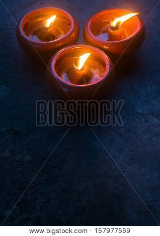 Candle or beeswax light surrounding by dark nature