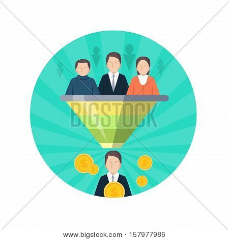 Target audience flat style seo icon. People at tribune listen to leader. Business marketing, socializing, research, personal development. Social chart infographics. Data analyze. Vector illustration