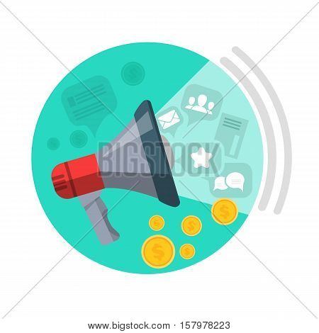 SEO loud speaker web button. Messages, mails, people, chats, money come from speaker. Business marketing, infographic information, social chart, data development and research. Vector illustration