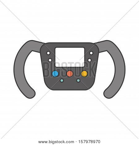 Steering wheel icon. racing competition sport and speed theme. Isolated design. Vector illustration