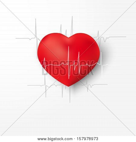 Creative illustration concept of world heart day.Red abstract, three-dimensional heart