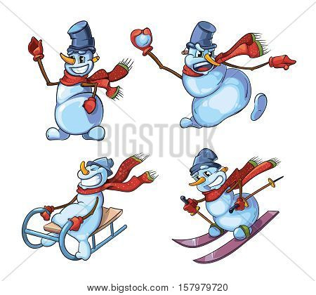 vector Set of cute snowman in different dinamic poses. Christmas illustration isolate on white background