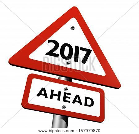 Road Sign Indicating New Year 2017 Ahead