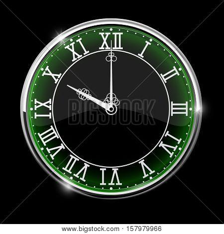 Black elegant clock with green backlight. Roman numerals. Vector illustration