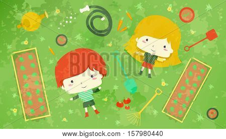 Illustration of a Redheaded Boy and a Blonde Girl Lying in the Midst of Vegetable Plots and Gardening Tools
