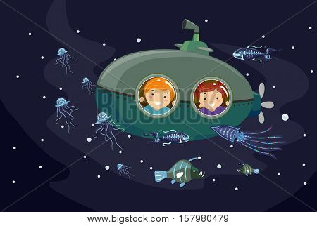 Stickman Illustration of Preschool Kids in a Submersible Seacraft Observing Bioluminescent Marine Animals