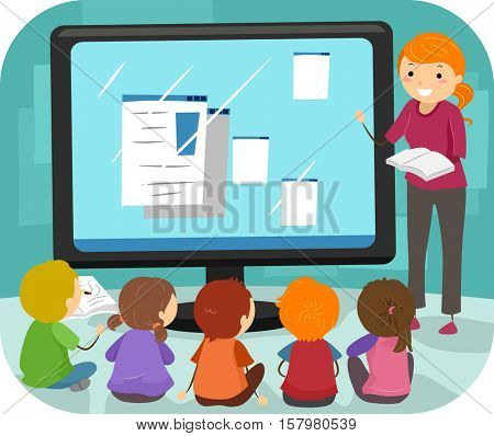 Stickman Illustration of a Group of Preschool Kids Listening to Computer Lessons