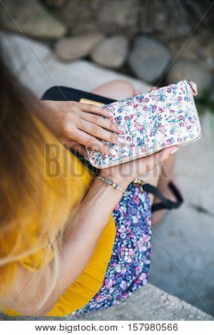 Beautiful Female Hands With Manicure Hold Handbag. Fashion, Style, Clothing